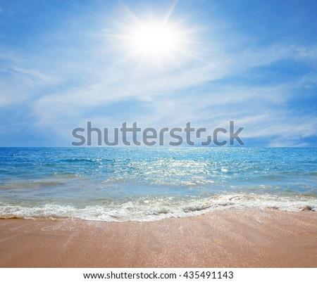 Beach sea blue and sky sunny day tropics background - stock photo