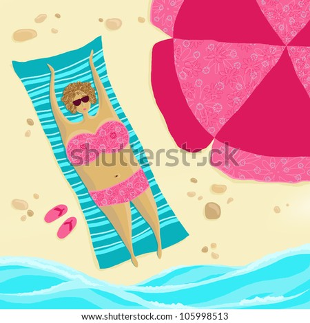 Beach season are open! Chubby woman sunbathing on the beach - stock photo