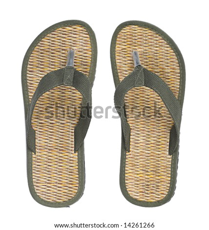 Beach shoes isolated on white background - stock photo