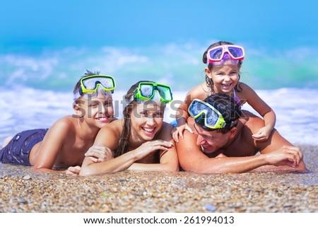 Beach, snorkelling, snorkel. - stock photo