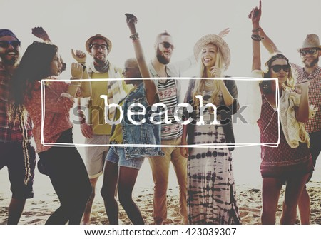 Beach Summer Holiday Vacation Sea Relaxation Concept - stock photo