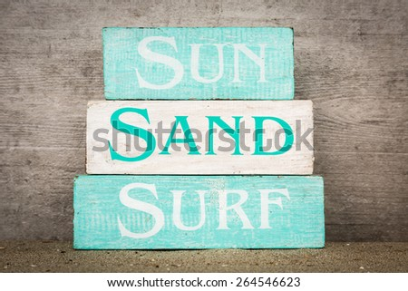 Beach summer wood blocks decor decorations - stock photo