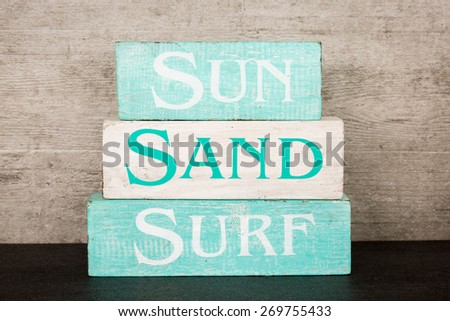 Beach summer wooden blocks decor - stock photo