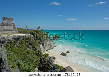 Beach sunset on Cozumel island - stock photo