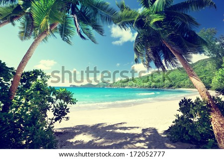 beach Takamaka, Mahe island, Seychelles - stock photo