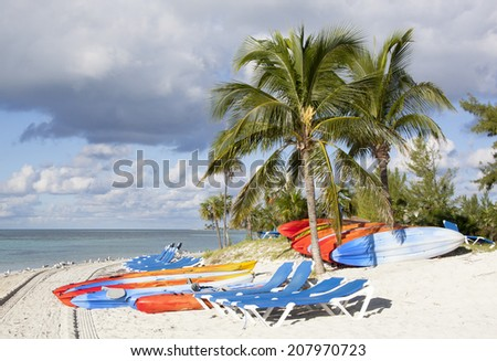 Beach tools are ready for tourists to come on Little Stirrup Cay (The Bahamas). - stock photo