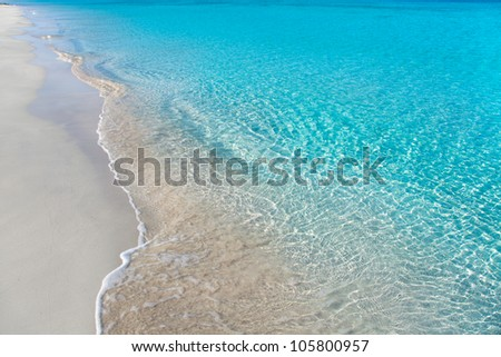 beach tropical with white sand and turquoise water ripple reflection - stock photo
