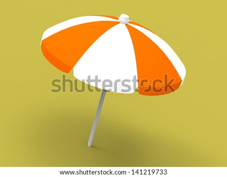 Beach Umbrella 3D - stock photo