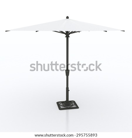beach umbrella isolated on white - stock photo