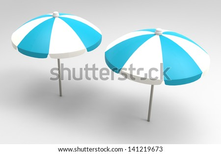 Beach Umbrella isolated on white Background 3D - stock photo