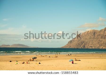 Beach view at Caleta de Famara, Lanzarote - stock photo