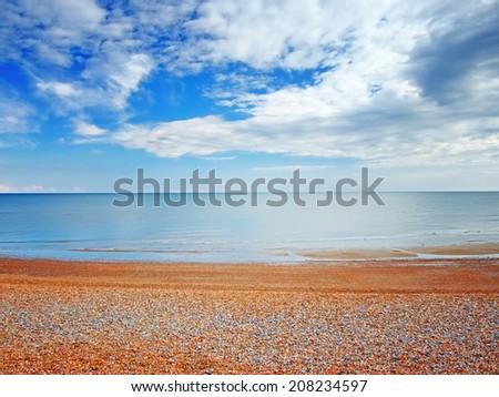 Beach view in Hastings,UK - stock photo