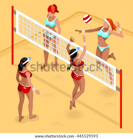 Beach Volley Player 2016 Sports Icon Set.3D Isometric Beach Volleyball.Sporting Championship International Beach Volley Competition.Sport Infographic Volley Illustration - stock photo