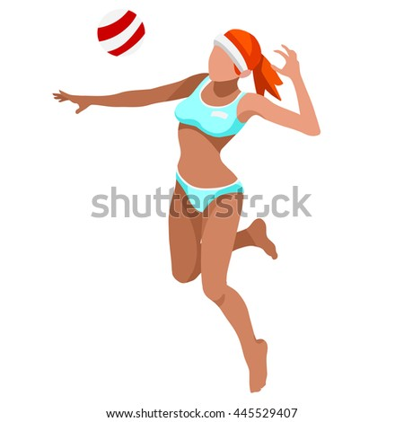 Beach Volley Player 2016 Summer Games Icon Set. 3D Isometric Beach Volleyball. Sporting Championship International Beach Volley Competition. Sport Infographic olympics Volley Illustration. - stock photo
