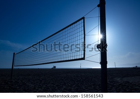 beach volleyball  volley net in Santa Monica at sunset California USA - stock photo