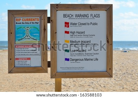 Beach warning sign - stock photo