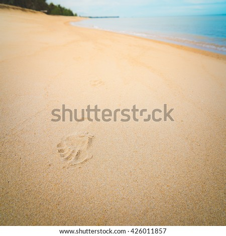 beach, wave and footsteps at sea beach - stock photo