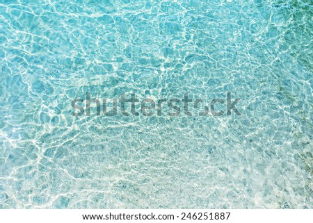 Beach white sand and turquoise shallow water of Mediterranean Sea - stock photo