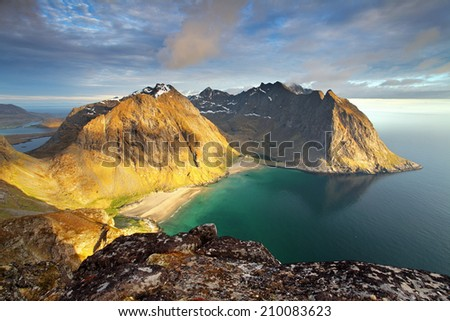 Beach with mountain in Norway, Kvalvika - Lofoten - stock photo
