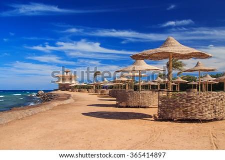 beach with sun beds and umbrellas, Egypt summer shore - stock photo