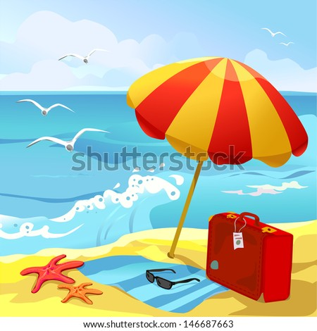 Beach chair and parasol vector illustration stock vector image - Stock Images Similar To Id 17607478 Happy Travel With