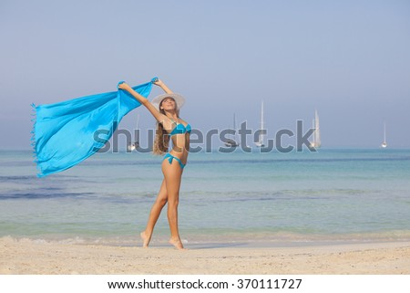 beach woman slim fit tanned and healthy - stock photo