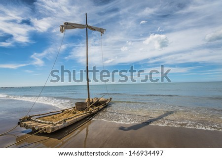 Beached raft. - stock photo