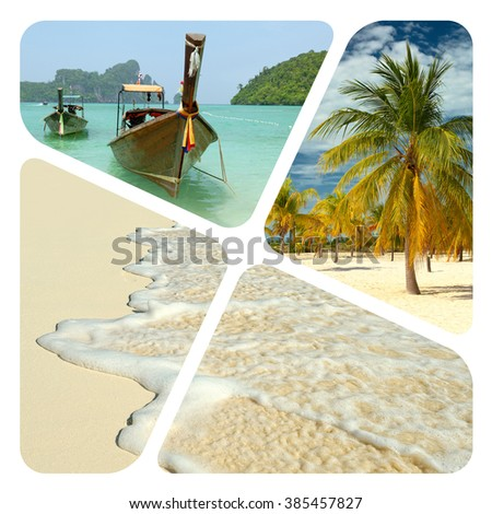 Beaches of Thailand.  Travel collage. Luxury spa resort. Wave of the sea on the sand beach - stock photo