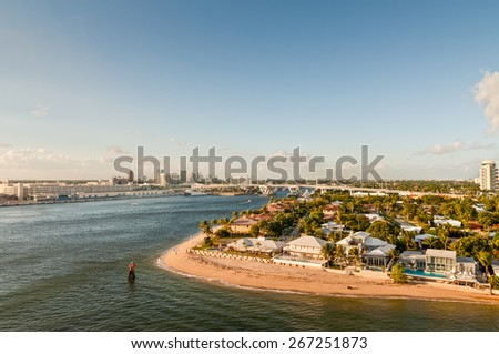 Beaches & skyline of the waterfront of Fort Lauderdale, Florida, USA - stock photo