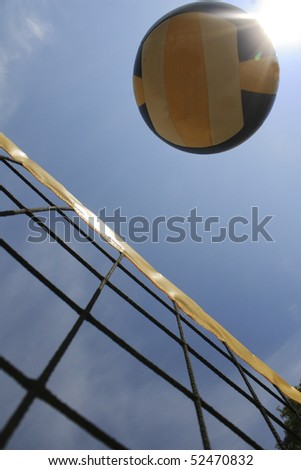 beachvolleyball on net - stock photo