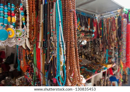 Bead necklaces and bracelets - stock photo