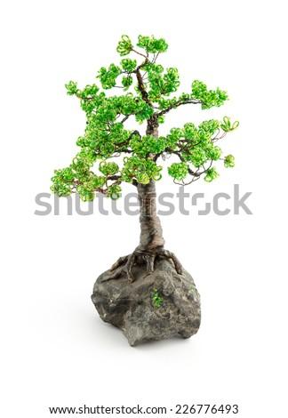 beads bonsai isolated on white - stock photo