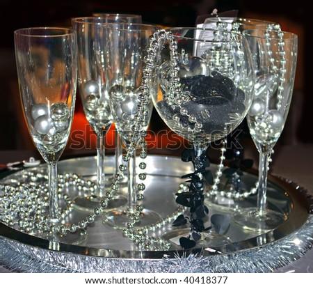 beads in wineglass - stock photo