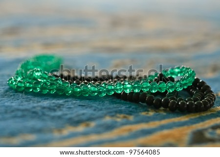 beads on the floor of the mosque - stock photo