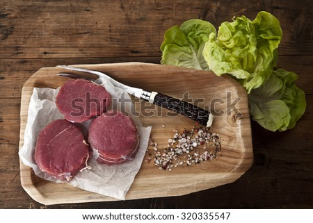 beaf bison  filet mignon, fitness food, spicy ,butcher  - stock photo