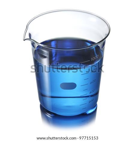 Beaker with blue liquid - stock photo