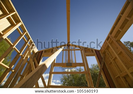 Beam of a home under construction during framing process in Southern California - stock photo