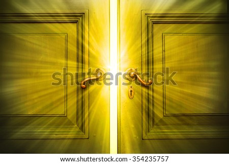 beam of the success back of the door ,vintage tone ,dramatic - stock photo