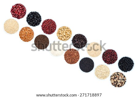 Bean and rice that a placement in a diagonal pattern - stock photo