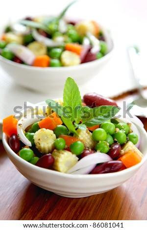 Bean & pea salad - stock photo