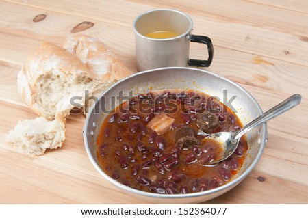 Bean soup in camping - stock photo