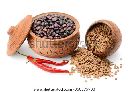 Beans and lentils isolated on white background - stock photo