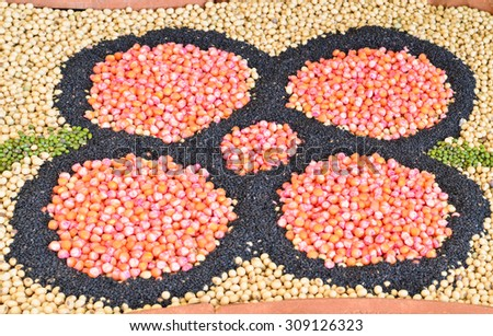 Beans background decorated in the flower shape - stock photo