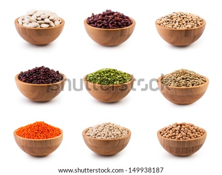 Beans in wooden bowl on white background. Set - stock photo