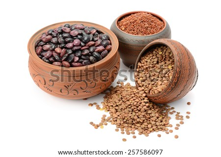 Beans, rice and lentils isolated on white background - stock photo