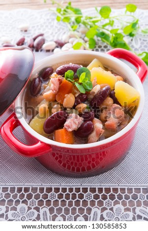 beans soup - stock photo