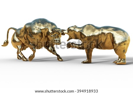 bear and bull fighting, stock exchange concept - stock photo