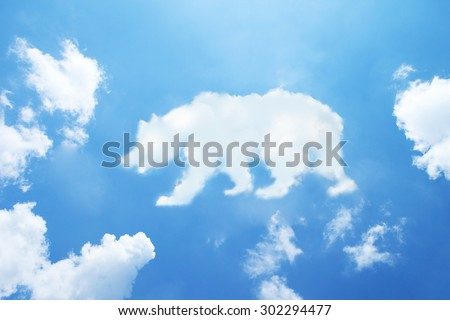 bear cloud shape on sky. - stock photo