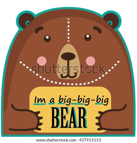 Bear funny cute animal with text box - stock photo