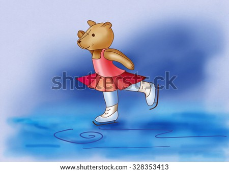 Bear furry skating on ice. Digital picture - stock photo